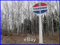 Rare Vintage Lighted Porcelain Standard Sign With Pole Non Neon Gas Station Oil