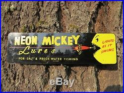 Rare Vintage Neon Mickey Salmon Lure Sign-in Very Good Condition-hard To Find