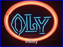 Rare Vintage Olympic Neon Lighted Beer Sign Bar Light Oly Orange Original Beer