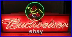 Rare Vintage Script Budweiser with Lighted Eagle Neon Sign 48