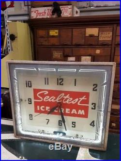 Rare Vintage Sealtest Ice Cream Neon Advertising Clock
