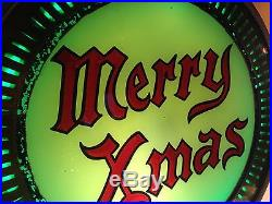 Rare Vtg Christmas 1930s NEON Products Spinning Lighted Electric Sign Merry Xmas