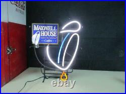 Rare! Vtg Neon Maxwell House Coffee Advertising Working Sign With Tin Slogan