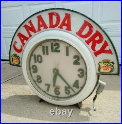 Rare Working Vintage Original Canada Dry Clock, Electric Neon Sign Co, Cleveland