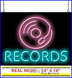 Records Neon Sign Jantec 24 x 18 Music Store Shop Vintage 50's Light CD