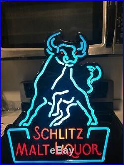 Schlitz Beer Sign Lighted Neo-neon Beer Sign Vintage Malt Liquor Bull