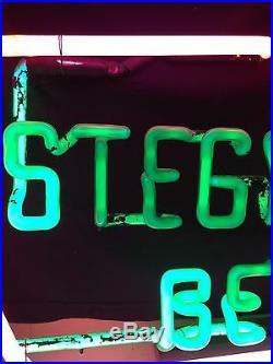 Stegmaier Neon Bar Beer Sign Rare Skeleton Vintage Antique Its PINK