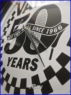 VANS Off The Wall 50th Anniversary Neon Wall Clock Rare Promo Item vtg Sign