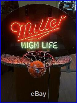 VINTAGE 1989 MILLER HIGH LIFE BASKETBALL NEON SIGN HOOP withBALL