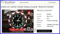 VINTAGE Aztec NEON wall CLOCK 27 SIGN GREAT DISPLAY