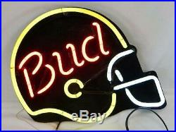 VINTAGE Budweiser (BUD) Football Helmet Shaped Bar Pub Decor Neon Light Sign 24