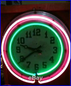 VINTAGE Double NEON CLOCK 22 inch SIGN GREAT DISPLAY