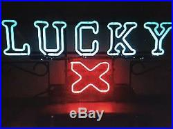 VINTAGE LUCKY LAGER X NEON BEER SIGN 1950's EXTREMELY RARE X