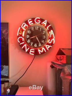 VINTAGE NEON CLOCK 22 FACE Regal Cinemas Theatre Clock