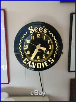 VINTAGE NEON CLOCK Sees Candies Store clock CURTIS