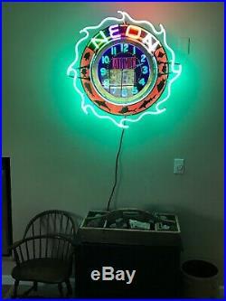 VINTAGE ORIGINAL NEON ADVERTISING CLOCK SIGN RUNS RESTORED On/Off Lights