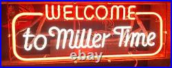 VINTAGE WELCOME TO MILLER TIME Authentic Neon Beer Sign