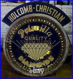 VTG 1930s RARE Holcomb Christian PRISCILLA QUALITY DIAMONDS NEON SPINNER SIGN