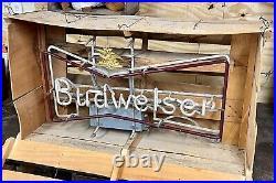 VTG 1950s ANTIQUE BUDWEISER BEER NEON BOWTIE ADVERTISING SIGN IN ORIGINAL CRATE