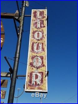 VTG 1950s LIQUOR ORIGINAL ANTIQUE ADVERTISING DOUBLE SIDED NEON SIGN OVER 8 FOOT