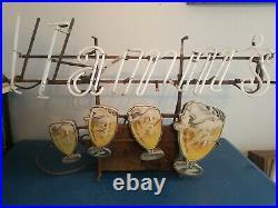 (VTG) 1950s hamms beer 4 flashing mugs goblets neon light up sign motor only
