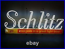 (VTG) 1960s Schlitz beer neon light up bar sign man cave game room antique