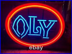 (VTG) 1980s olympia beer oly neon light up sign Washington Minnesota org box
