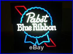 Vtg 1990's Pabst Blue Ribbon Beer Sign Light Neon Looking Clean