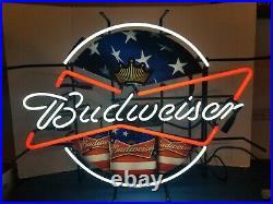 (VTG) 2013 Budweiser beer red white & blue America flag neon light up sign rare