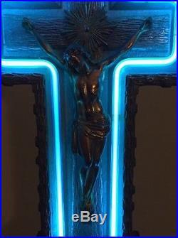 VTG ART DECO 30's NEON JESUS CRUCIFIX FUNERAL CROSS RARE SIGN CHURCH