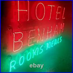 VTG Antique 1940s Hotel Benham Neon Hanging Sign Penn Yan NY New York Restored