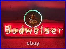 (VTG) Budweiser Beer Neon Light Up Sign Eagle 30 Bar Decor Vintage Rare