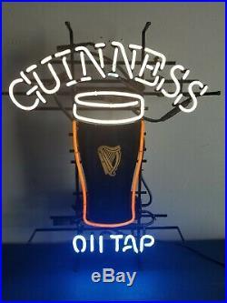 (VTG) Guinness beer on tap Irish Neon light up sign pint glass bar game room pub
