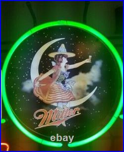 (VTG) Miller high life beer girl on the moon neon light up sign Marquee bar rare