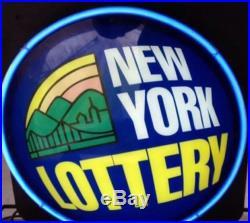 VTG NEW YORK NY LOTTERY light NEON SIGN Lamp MAN CAVE Blue Flashing Lotto Zeon