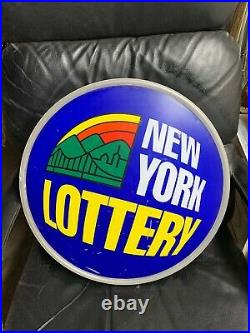VTG NEW YORK NY Lotto Lottery Blue NEON Sign Works Mancave
