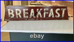 VTG Original Breakfast Neon Diner Restaurant Sign Restored Rebuilt Galvanneal