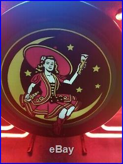 (VTG) miller high life beer girl on the moon bar back neon light up sign rare