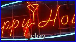 Very Large 6 Foot Wide Vintage Neon Happy Hour Wall Sign