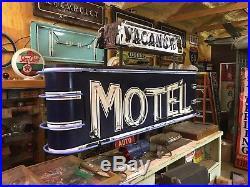 VinTagE Original MOTEL 2 Sided Pole Sign w Base NEON Hotel Gas Oil LADORA IOWA