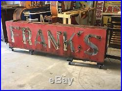 VinTagE Original NEON FRANK'S Double Sided PORCELAIN Sign OLD Adveryising Store