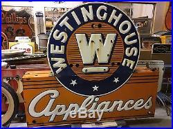 VinTagE Original NEON WESTINGHOUSE APPLIANCES Double Sided PORCELAIN Sign OLD