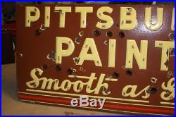 Vintage 1930s Pittsburgh Paints Smooth As Glass Porcelain Sign Neon Brown