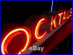 Vintage 1940's COCKTAILS Antique Neon / Restaurant BAR Sign Channel Lettering
