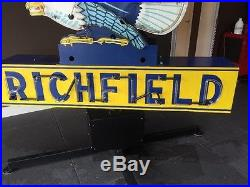 Vintage 1940's Richfield Neon Gas Sign Double Sided, 10 Foot, Motorized