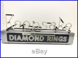 Vintage 1940s Blue Neon Keepsake Diamond Rings Store Display Sign