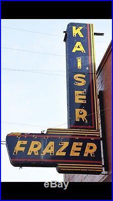 Vintage 1947-1951 Porcelain KAISER-FRAZER Gasoline AUTO Oil Sign Neon Skin