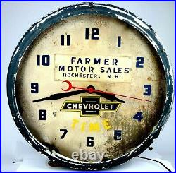 Vintage 1950S FARMER CHEVROLET NH DEALER Advertising NEON CLOCK SIGN Lighted