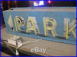 Vintage 1950's PARKING Neon Sign / Antique Collectible Garage / Auto