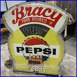 Vintage 1950's Pepsi Neon Advertising Sign, Bracy Food Stores